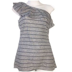 Juicy Couture off shoulder gray Blk Ruffle Top M